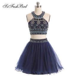$enCountryForm.capitalKeyWord NZ - Elegant Halter Neck With Beading Crop Top A Line Mini Short Tulle Party Formal Evening Dresses for Women Two Pieces Prom Dress Gowns