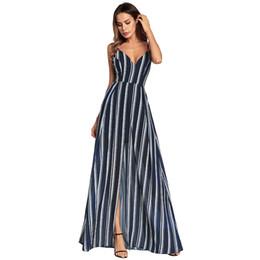 1fb6ba6ac Listrado maxi dress aberto de volta chiffon espaguete beach dress dividir  sexy mulheres vestidos até o chão com decote em v festa clube roupas