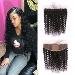 Silk Base Baby Hair Australia - 13x4 Brazilian Human Hair Silk Base Frontal with Baby Hair Ear to Ear Deep Wave Lace Frontal FDshine