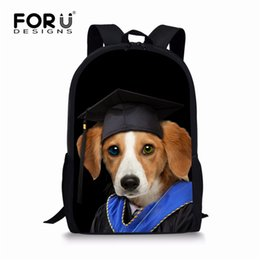 School Book Bags NZ - FORUDESIGNS Doctoral Cap Dog Cat Printing Children School Bags Fashion Large Capacity Book Bags Primary Students Boys