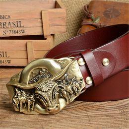 Discount brass strapping - Cowboy Belt Brass Bull Buckle Mens Belts Luxury Genuine Leather Men Belt Vintage Ceinture Homme Cinturones Male Strap MB