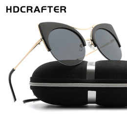fbef4600cd80 wholesale Women Luxury Metal Frame butterfly Sunglasses Half Frame Cat Eye  Vintage Shades Sun Glasses Gafas Catey UV400