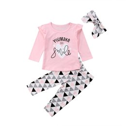 China 2018 Latest Children's Wear Baby Newborn Toddler Infant Girl Ruffled Top T-shirt+ Legging+Headband Clothes Outfit 3Pcs Set 0-24M supplier winter infant baby wear clothes suppliers