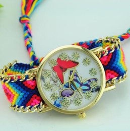 Wholesale New Colorful Bracelet Watch Butterfly Ladies Woven Braided Strap Creative Watch Women Knitted Braided Weaved Rope Butterfly Dial watch
