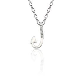 Fish Hook Pendants NZ - Simple Fashion Fish Hook Necklaces Pendants Silver Alloy Fishhook Charm Pendant Necklace For Women Men Gift Collier Dropshipping