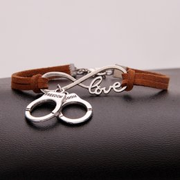 handcuffed bracelet Australia - Infinity Love Handcuffs Pendant Handmade Bracelets & Bangles women men brown leather New 2018 Jewelry Charm Pulseiras Boyfriend Girlfriend