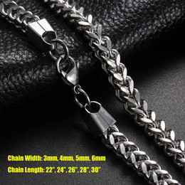 fishbone chain UK - Wholesale! 3mm 4mm 5mm 22-30inch Men Fishbone Chain 316L Stainless Steel Cuban Chain Necklace For Mens Curb DragonBone Hip Hop Link Jewelry