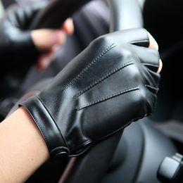 $enCountryForm.capitalKeyWord NZ - Semi-Finger PU Leather Gloves Male Half-Fingers Tactics Driving Men Gloves Fashion Black Five Finger Mittens PM013PN
