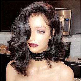 $enCountryForm.capitalKeyWord NZ - Short curly wavy lace front Human Hair Wigs For Black Women 180% density Virgin hair Full natural Front lace Wig bob style 14inch