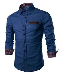 c9d0a342a4 Fashion Men Denim Jeans Shirt Casual Long Sleeve Slim Fit Cotton Tops Shirts  Single Breasted Patchwork Plaid for Men Denim Plus Size Shirts