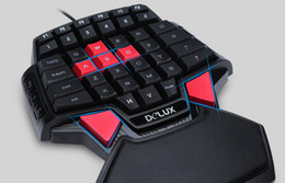 New Hot Delux T9U One Hand Wired Keyboard 41 standard keys Single-handed Keypad With LED Backlight For LOL DOTA 2 Game Player PC Best Price on Sale