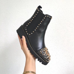luxury microfiber 2018 - New Arrival High Top Women Casual Shoes Red Bottom Boots Girls Designer Luxury Shoes With Studded Spikes Party Boots Win