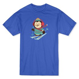 shirt penguin print NZ - Cute Christmas Penguin Skiinger Men's Royal Blue T-shirt Print T Shirt Summer Style Top Tee 2018 Short Sleeve O - Neck