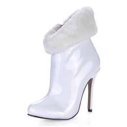 White Fur High Fashion Boots NZ - Autumn Winter 12CM Sexy Fashion Women Boots White Fur Pointed Toe 12cm High Heel Ankle Boots Knee-high, Pluz size EU35-43!