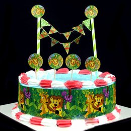 Jungle Animal Lion King Birthday Cake Topper Flags Choose Baby Shower Boy Party Decorations