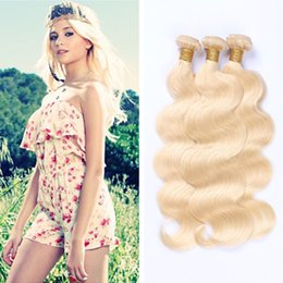 Wholesale Brazilian Blond Hair Human Hair Weaves Malaysian Peruvian Indian European Body Wave Hair Bundles Best Quality Double Wefts A