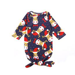 sleeping bag robe 2019 - Babies kids sleeping bag INS baby girls boys chirstmas reindeer printed long sleeve swaddle baby robe Newborn muslin bla
