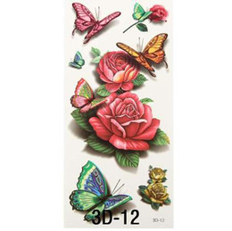 Chinese  Sexy Red Rose 3d Temporary Tattoo Body Art Flash Tattoo Stickers Waterproof Henna Tatoo Selfie Fake Tattoo Sticker manufacturers