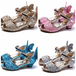 Wholesale Children girls high heeled shoes summer butterfly princess shoes new girl buckle strap sandals Colors DDA61