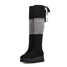 a5c75b5fb93 Woman Boots Fashion Elastic Fabric Thigh High Boots Comfortable Ladies Over  Knee Winter Platform Wedges High