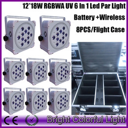 wireless dmx case Australia - 8XLOT with flight case LED flat par cans 12 pcs * 18w rgbwa uv 6in1 Wireless dmx uplight Battery Powered led stage wash lights