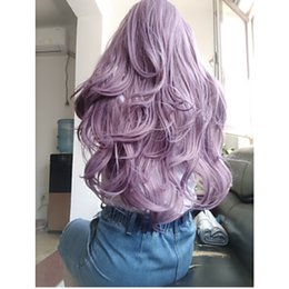 synthetic lace wig fiber 2019 - Free Shipping Synthetic Lace Front Wig Purple Color Natural Wave Side Part 180% Density Heat Resistant Fiber Hair Long W