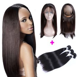 Wholesale 9A Pre Plucked Brazilian Straight Hair Weaves With Lace Band Frontal Virgin Human Hair With Bady Hair