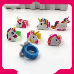 Finger Rings For Girls Australia - New Cute Unicorn Rings Carton PVC Soft Silicone Fashion Colorful Finger Rings Gifts for Kids Girls Boys Toys Accessory Jewelry Free Shipping