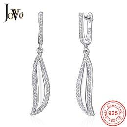 JOVO Fine Jewelry donna lascia orecchini a goccia sterling 925 gioielli in argento foglie di salice pianta signora personalità regalo romantico