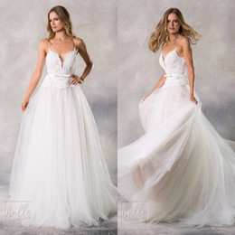 $enCountryForm.capitalKeyWord UK - Anna Georgina A Line Wedding Dresses Spaghetti Lace Backless Bling Tulle Plus Size Bridal Gowns Sweep Train Robe De Mariée