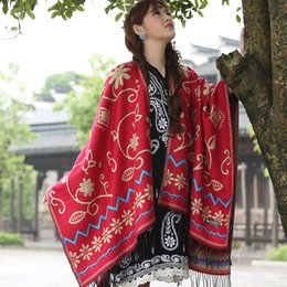 big tassel scarves 2019 - Winter New Shawl Lady Shawls Chinese Style Scarves Jacquard Artificial Cape Tassels Warm Wrap  Cashmere Big Size Scarf c