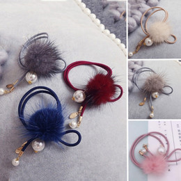 Rabbit Hair Ponytail Australia - Women Girls' Pompom Faux Rabbit Fur Pompom Elastic Hair Bands Ties Scrunchy Holder Ponytail Hair Ropes Accessories