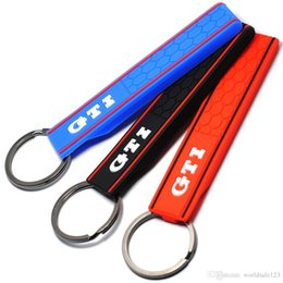 Car Emblem Logos Badges Australia - Popular Cool Silicone GTI Logo Emblem Badge Car Keychain Key Ring for VW Golf MK2 MK3 MK4 MK5 MK6 MK7 Polo Car Styling Auto Accessories