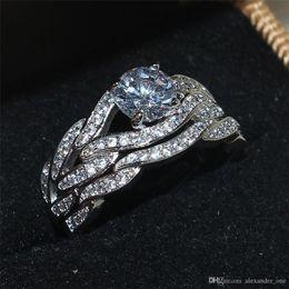 finest selection 6b112 199a0 2016 nueva personalidad Mix and Match moda anillo de bodas conjunto para  mujeres de lujo de calidad de piedras preciosas compromiso 10KT oro blanco  lleno de ...