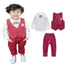 striped pants for kids Canada - boys fashion autumn new clothing sets children's print shirt + striped vest + pants 3 pieces suit gentleman clothes for kids