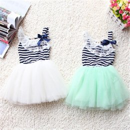 Cotton Print Material NZ - Summer Fashion New Baby Girl Ball Gown Dress Lace+Cotton Material 3 Colors Age 0-2Y