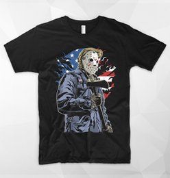 Men T Shirt Gun Australia - American Killer USA T Shirt Freddy VS Jason Horror Mask Donald Trump Gun T-Shirt Casual Short Sleeve For Men Clothing Summer