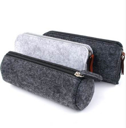 fabric school bags UK - Felt pencil bag fabric pencil case box School Office Supplies Stationery Pouch Purse Storage Cute Makeup Bags Pencil Box