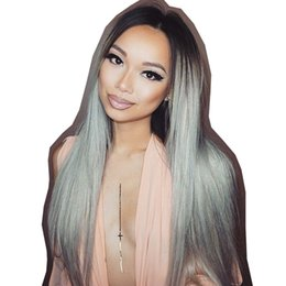 China Lace Front Human Hair Wigs With Baby Hair 1B Black Gray Silky Straight Ombre Grey Human Hair Wigs for Women Remy supplier gray human hair wigs suppliers