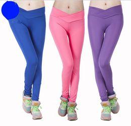 Slim Shape pantS online shopping - women candy color yoga pants Stretch Leggings Slim Pants matte v shape waist Yoga pants color LJJK963