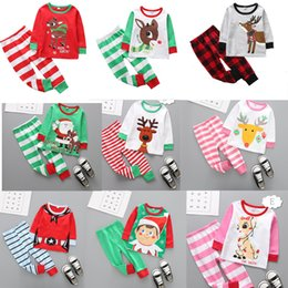 Wholesale Xmas Baby Girls Family Matching Christmas Deer Moose Striped Baby Clothes Casual Clothes Kids 2018 Fashion Set Sleepcoat Nighty 27colors