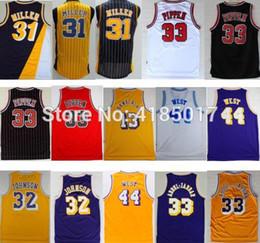 d1524008c 2018 Men s New Shirt Magic Johnson Jerseys 33 Kareem Abdul Jabbar 44 Jerry  West Reggie Miller Scottie Pippen Basketball