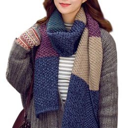 Discount womens knitted scarves - New Womens Men Knitting Patchwork Wool Long Scarves 2018 New Hot Fashion Soft Wrap Scarf Winter Warm Shawl 185Cm Neckerc