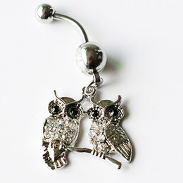 Animal Rings Fashion Accessories NZ - D0587-1 (2 colors) owl style clear or pink colors Belly Button ring Navel Rings Body Piercing Jewelry Dangle Accessories Fashion Charm 10PCS