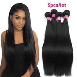 Discount mixed color peruvian hair weave - Wholesale 8a Brazilian Straight Virgin Hair 5pcs lot Mix Length Virgin Straight Human Hair Bundles Unprocessed Brazilian