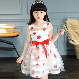 lemon print dresses Canada - Nacolleo Novalty Party Wedding Flower Girls Dress Summer Strawberry Print Kids Clothes White Girls Vestido Princess Voile Dress