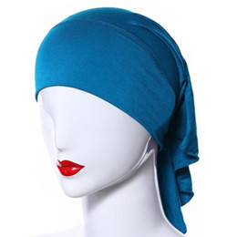 $enCountryForm.capitalKeyWord UK - Muslim Women Soft Comfortable Inner Hijab Caps Islamic Underscarf Hats 20 Colors T55