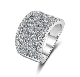 Chinese  Micro Pave 3a Zircons CZ Diamond Platinum Plated Wide Rings Women Jewelry Best Selling Products in Europe and America manufacturers