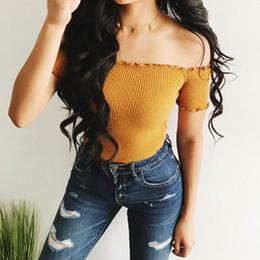 $enCountryForm.capitalKeyWord Canada - Sexy Off Shoulder T Shirt Women Crop Tops 2018 Summer Long Sleeve White Slim Nightclub Cropped Top Tees Shirts