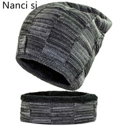balaclava knitting 2018 - Nanci si 2-Pieces Balaclava Knitted Hat Scarf Caps Neck Warmer Winter Hat For Men Women Skullies Beanies Warm Fleece Cap